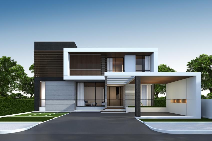 Dom jednorodzinny oraz elewacja drewnopodobna i panele elewacyjne imitujące drewno