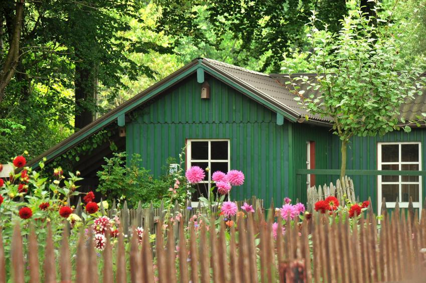 Zielony mały domek na działkę rekreacyjną i polecane letniskowe domki na działkę