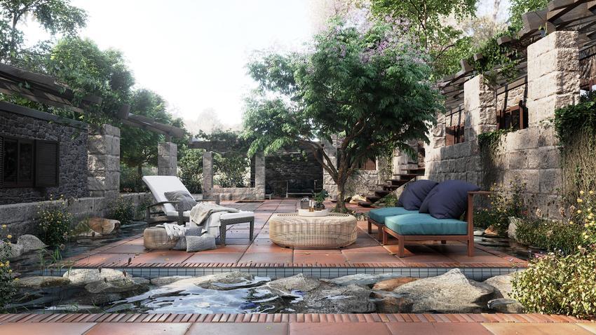 Pięknie zaaranżowany taras, a także płyty tarasowe, płyty betonowe na taras