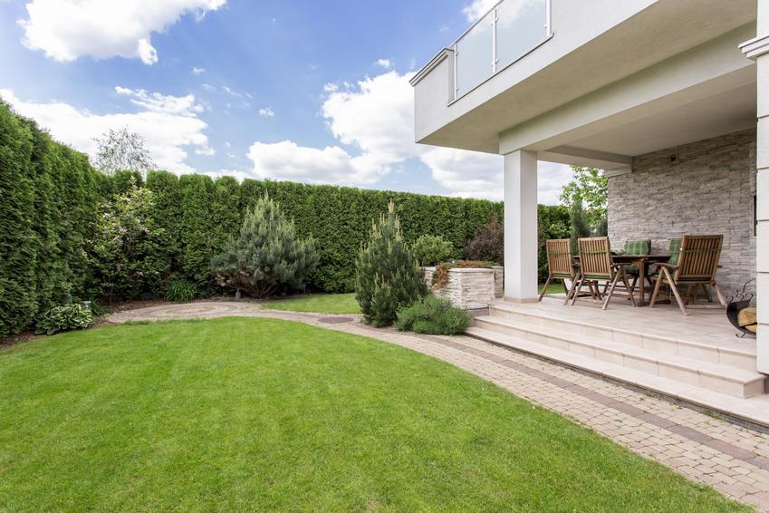 Piękny ogród obok domu, a także powierzchnia biologicznie czynna, teren biologicznie czynny, ustawa