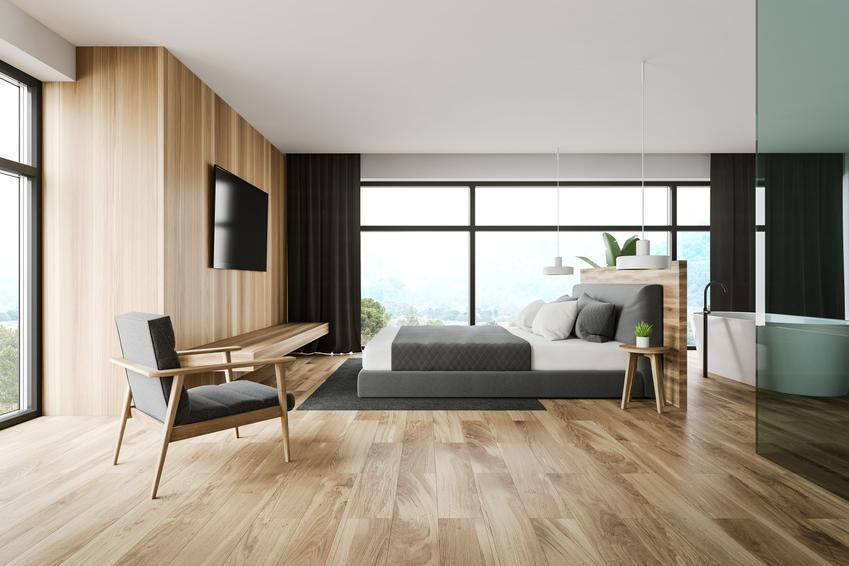 Podłoga drewniana w nowoczesnej sypialni, a także podłogi drewniane, podłoga z drewna oraz cennik