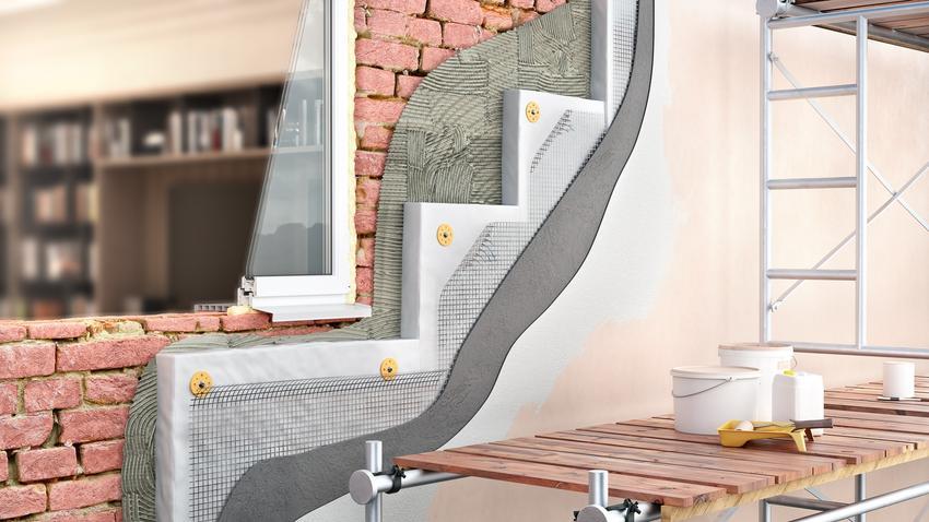 Przekrój ocieplonej ściany domu, a także izolacja termiczna, izolacja cieplna, materiały izolacji termicznej