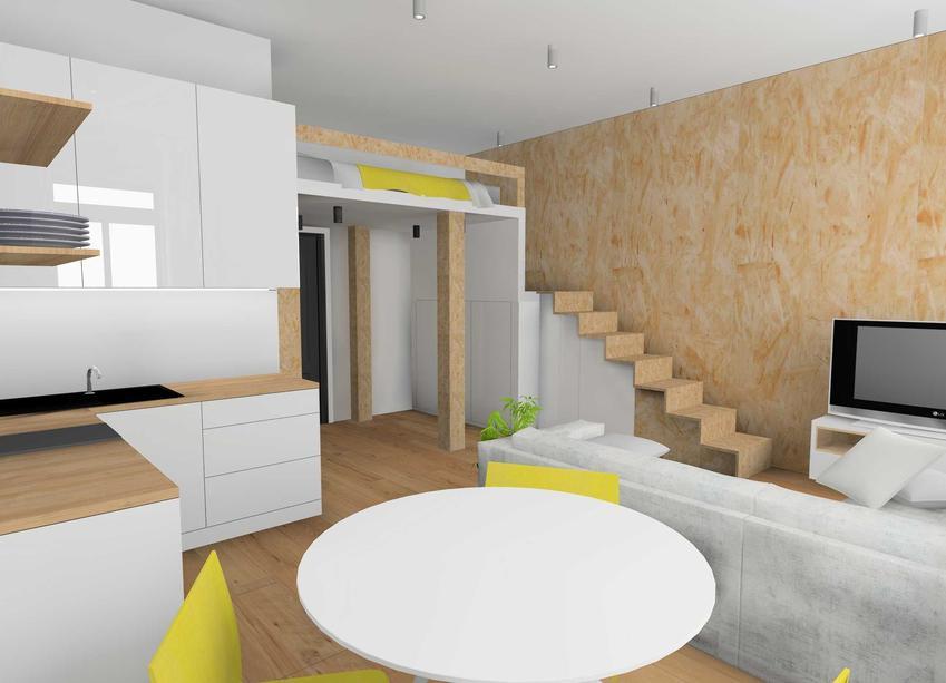 Mieszkanie z antresolą, na której znajduje się łóżko, a także plan, projekt oraz inspiracje co do łóżek na antresoli