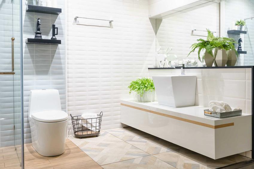 Łazinka biało-drewniana w nowoczesnym stylu, a także aranżacje, dodatki, modne style i zastosowanie