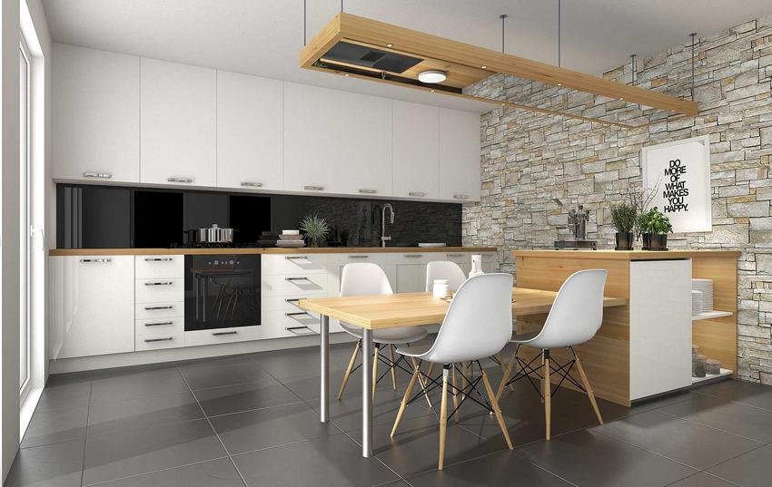 Płytki w nowoczesnej kuchni utrzymanej w białym kolorze, a także wybór płytek na podłogę do kuchni - modele, rodzaje i rozwiazania