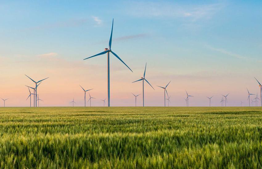 Liczne wiatraki na polu na tle zachodzącego nieba, a także informacje o energii wiatrowej, zastosowanie oraz opłacalność