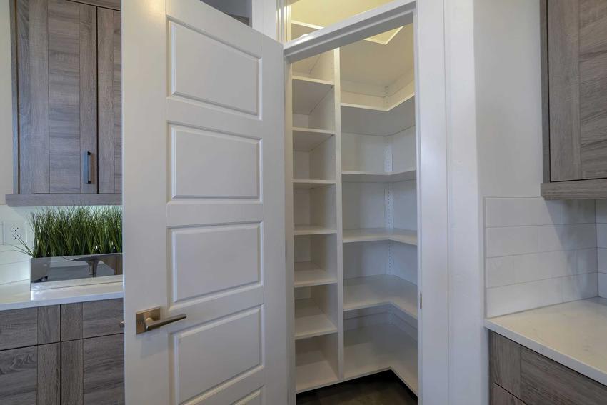 Spiżarnia w kuchni zamknięta za drzwiami, a także projekty, aranżacje, wyposażenie, porady