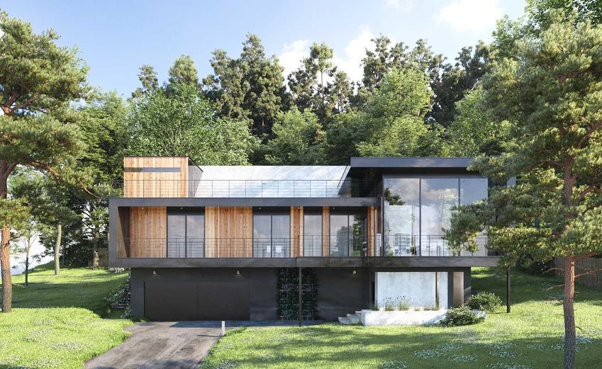 Nowoczesna elewacja z drewnem wokół okien, a także TOP 10 projektów na elewację drewnianą krok po kroku