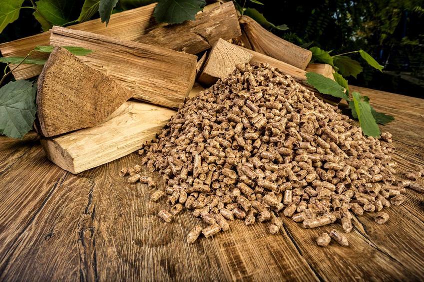 Pellet wysypany przy kawałkach drewna, a także produkcja pelletu krok po kroku, czyli sposoby, ceny oraz ogrzewanie pelletem