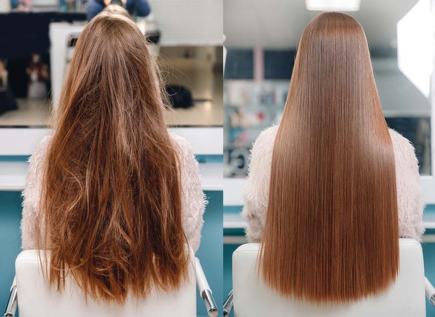 Jeden obrazek pokazuje kobietę z włosami zniszczonymi i zaplątami, na drugim obrazku kobieta ma idealnie proste i gładkie włosy, czy cena keratynowania zależy od długości włosów