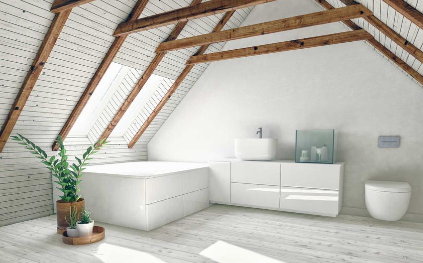 Nowoczesna łazienka na poddaszu ze skosami, a także pomysły, inspiracje, najlepsze aranżacje oraz koszty