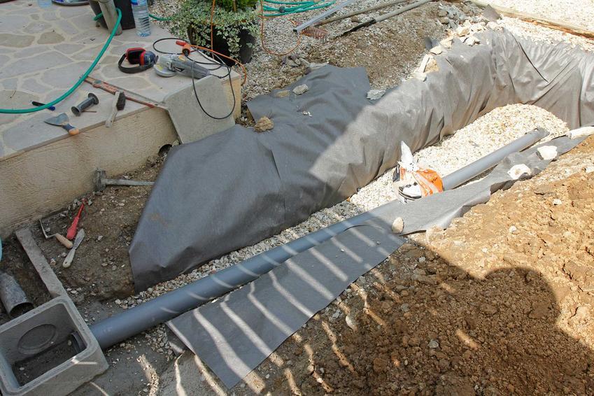 Odprowadzanie wody deszczowej należy zaprojektować odpowiednio wcześniej. Rury odprowadzające wodę mogą znajdować się pod podwórkiem