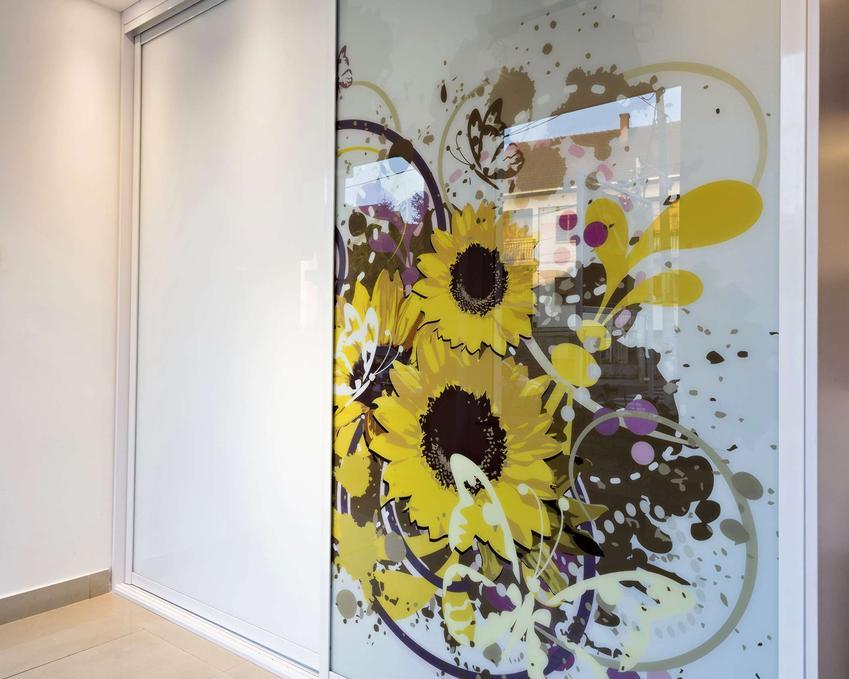 Orientacyjny koszt wykonania szafy wnękowej na wymiar. Szafa dwuskrzydłowa ozdobiona modną grafiką na szkle.