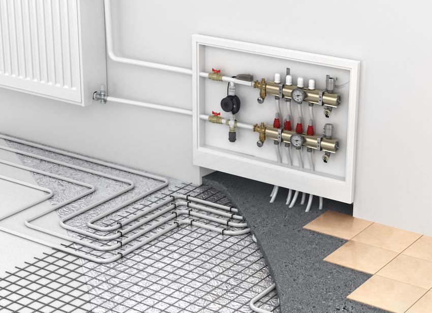 Montaż ogrzewania podłogowego w budynkach mieszkalnych z rurą wielowarstwową 16x2,0 mm, folią, styropianem, rozdzielaczami i innymi niezbędnymi materiałami. Cena nie zawiera wykonania projektu